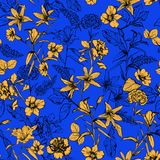 Beuatiful summer vivid yellow botanical flowers in the garden ha. Nd drawn by pencil seamless pattern vector for fashion, fabric,wallpaper and all prints on blue stock illustration
