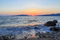 Beuatiful waves of mediterranean sea during sunset near hisaronu Stock Photos