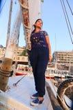 Beuatiful woman on boat. Beautiful nature of Nile River at Aswan, Egypt Royalty Free Stock Image