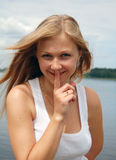 Beuatiful woman with silent gesture Royalty Free Stock Photography
