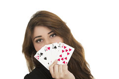 Beuatiful young woman playing cards Stock Photo