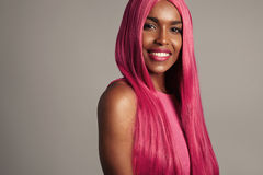 Beuaty black woman in wig Stock Photos