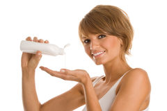 Beuaty Woman With Body Lotion Stock Images