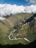 Beuglement Machu Picchu (Pérou de vue Photographie stock
