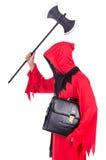 Beul in rood kostuum met bijl Stock Afbeeldingen