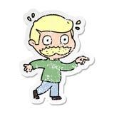 beunruhigter Aufkleber eines Karikaturmannes mit dem Schnurrbart entsetzt vektor abbildung
