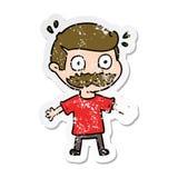 beunruhigter Aufkleber eines Karikaturmannes mit dem Schnurrbart entsetzt lizenzfreie abbildung