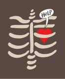 Beunruhigtes Herz eingesperrt innerhalb eines Brustkorbes, der um Hilfe bittet lizenzfreie abbildung