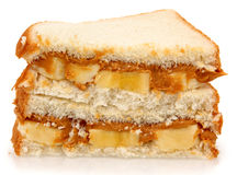 Beurre et banane d'arachide images libres de droits