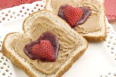 Beurre et gelée d'arachide de Valentine Images libres de droits