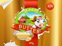 Beurre Ferme de lait 3d vecteur, design d'emballage Photographie stock