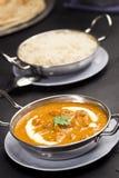 Beurre Masala de Paneer dans la cuvette avec du riz Image stock