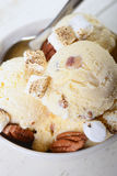 Beurrez la crème glacée de noix de pécan avec les noix de pécan et les guimauves grillées Images libres de droits