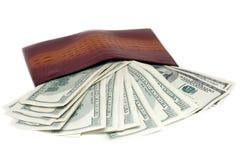 Beurs en bankbiljetten in honderd dollars Stock Afbeelding