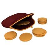 Beurs en gouden muntstukken Stock Afbeelding