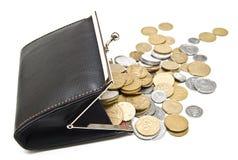 Beurs en muntstukken op een wit stock foto's