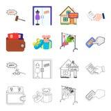 Beurs met creditcards en ander Webpictogram in beeldverhaal, overzichtsstijl de giftverkoop van dingen, knoopt meer pictogrammen  Royalty-vrije Stock Foto's