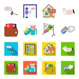 Beurs met creditcards en ander Webpictogram in beeldverhaal, vlakke stijl de giftverkoop van dingen, knoopt meer pictogrammen in  Royalty-vrije Stock Foto's