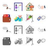 Beurs met creditcards en ander Webpictogram in beeldverhaal, zwart-wit stijl de giftverkoop van dingen, knoopt meer pictogrammen  Stock Foto's
