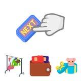 Beurs met creditcards en ander Webpictogram in beeldverhaalstijl Royalty-vrije Stock Fotografie