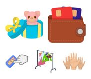 Beurs met creditcards en ander Webpictogram in beeldverhaalstijl de giftverkoop van dingen, knoopt meer pictogrammen in vastgeste Stock Afbeeldingen