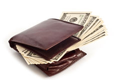 Beurs met dollars Royalty-vrije Stock Foto
