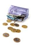 Beurs met geld dat op witte achtergrond wordt geïsoleerdm Royalty-vrije Stock Afbeeldingen