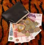 Beurs met geld op de achtergrond van het tijgerpatroon Stock Fotografie