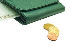 Beurs met geld op een witte achtergrond Royalty-vrije Stock Fotografie