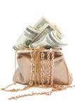 Beurs met goud en bankbiljetten in honderd dollars Royalty-vrije Stock Foto's