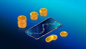 Beursmarkt of terugkeer op investeringsconcept met mobiele toepassing Forex handelgrafiek met smartphone royalty-vrije illustratie