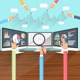 Beurstarieven op Monitors met Handen vector illustratie