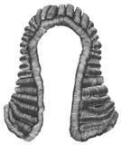 Beurteilen Sie graue Haarlocken der Perücke mittelalterliche Artantike lizenzfreie abbildung