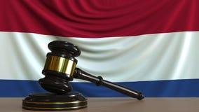Beurteilen Sie ` s Hammer und blockieren Sie gegen die Flagge der Niederlande Begriffs-Wiedergabe 3D des niederländischen Gericht Lizenzfreie Abbildung