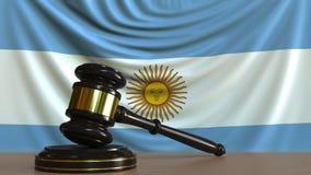Beurteilen Sie ` s Hammer und blockieren Sie gegen die Flagge von Argentinien Begriffs-Wiedergabe 3D des argentinischen Gerichtes Lizenzfreie Abbildung