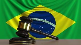 Beurteilen Sie ` s Hammer und blockieren Sie gegen die Flagge von Brasilien Begriffs-Wiedergabe 3D des brasilianischen Gerichtes Lizenzfreie Abbildung