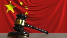 Beurteilen Sie ` s Hammer und blockieren Sie gegen die Flagge von China Begriffs-Wiedergabe 3D des chinesischen Gerichtes Lizenzfreie Abbildung