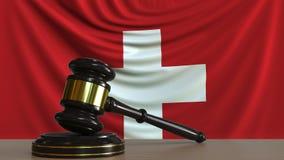 Beurteilen Sie ` s Hammer und blockieren Sie gegen die Flagge von der Schweiz Begriffs-Wiedergabe 3D des Schweizer Gerichtes Vektor Abbildung