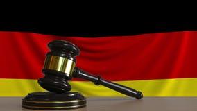 Beurteilen Sie ` s Hammer und blockieren Sie gegen die Flagge von Deutschland Begriffs-Wiedergabe 3D des deutschen Gerichtes Lizenzfreie Abbildung