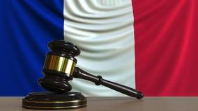 Beurteilen Sie ` s Hammer und blockieren Sie gegen die Flagge von Frankreich Begriffs-Wiedergabe 3D des französischen Gerichtes Stock Abbildung