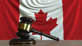Beurteilen Sie ` s Hammer und blockieren Sie gegen die Flagge von Kanada Begriffs-Wiedergabe 3D des kanadischen Gerichtes Vektor Abbildung