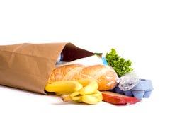 Beutel der Lebensmittelgeschäfte auf Weiß Lizenzfreie Stockfotos
