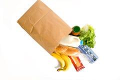 Beutel der Lebensmittelgeschäfte auf Weiß Stockbilder