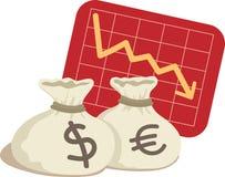 Beutel des Dollars und des Euro Lizenzfreie Stockfotos