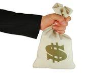 Beutel des Geldes in der Hand Stockfoto