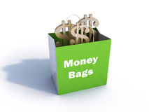 Beutel des Geldes mit Reflexion Lizenzfreie Stockbilder