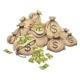 Beutel des Geldes Verpacken in den Bündeln Banknoten Getrennt auf weißem Hintergrund Lizenzfreie Stockbilder