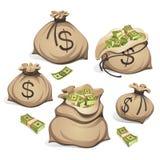 Beutel des Geldes Verpacken in den Bündeln Banknoten Getrennt auf weißem Hintergrund Lizenzfreie Stockfotos