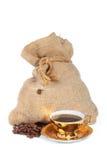 Beutel des Kaffees, Tasse Kaffee Lizenzfreies Stockbild