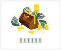 Beutel mit Geld und Münzen A vektor abbildung